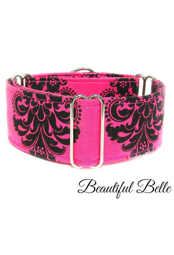 Hot Pink Wide Dog Collar Buckle Collar Martingale by CollarTown, $18.50