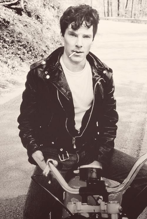 Babybatch in leather jacket, with cigarette and on the old motorcycle. For short description...HOT.