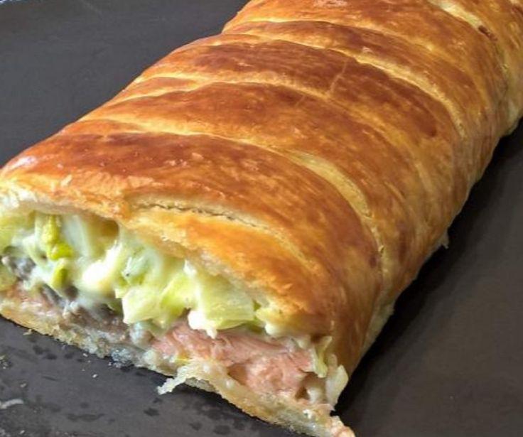 Recette : Feuilleté crousti-crémeux saumon/poireaux.