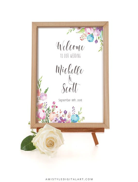 Printable wedding sign - Welcome the wedding of - with watercolor floral design by Amistyle Digital Art on Etsy