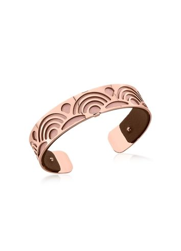 Les Georgettes Small Poisson Rose Gold Plated Bracelet w/Pink and Brown Reversible Leather Strap