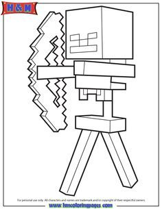 skeleton and arrow from minecraft coloring page