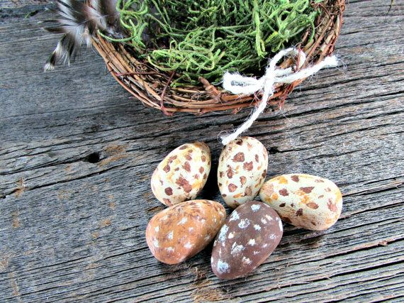 Hand Painted Wooden Eggs Brown Speckled Bird Eggs by RedGarnetHome