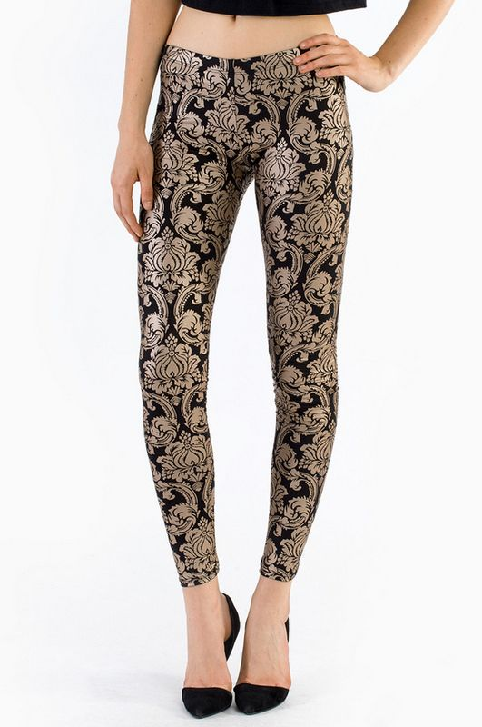 Go for Brocade Leggings - gold and black @Emily Overton