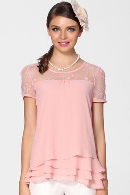 ROMWE   Lace Panel Sheer Sleeves Pink Blouse, The Latest Street Fashion #ROMWEROCOCO