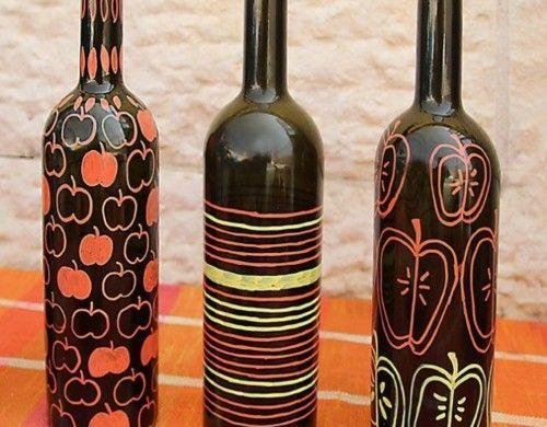 basteln mit glasflaschen bemalte vasen