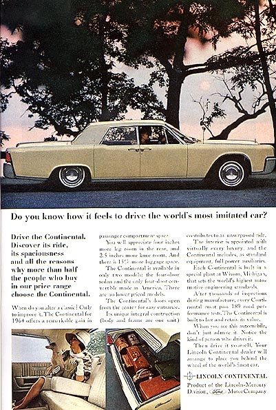 do you know how it feels to drive the world 39 s most imitated car lincoln continental 1964. Black Bedroom Furniture Sets. Home Design Ideas