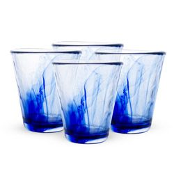 Beautiful, bold, and strikingly handsome, these Bormioli Rocco Murano Cobalt Blue Drinking Glasses are a must. Set of 4.