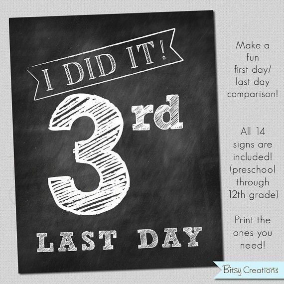 LAST Day of School Printable Signs INSTANT by BitsyCreations, $5.00