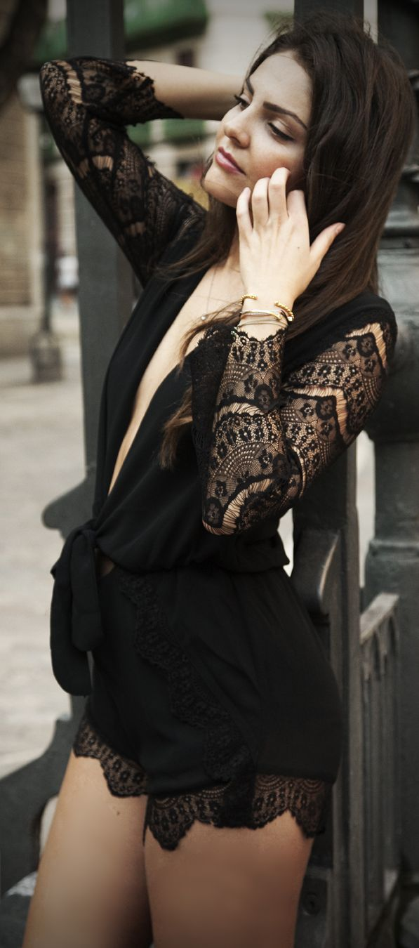 Black Sexy Lingerie Inspired Plunge V Neck Lace Sleeve Playsuit