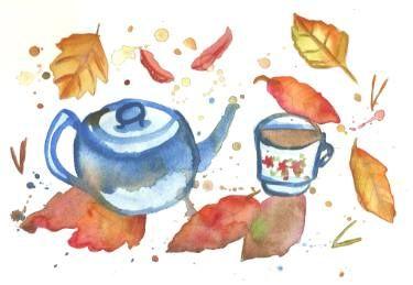 "Saatchi Art Artist Niina Niskanen; Painting, ""My autumn cup of tea"" #art"