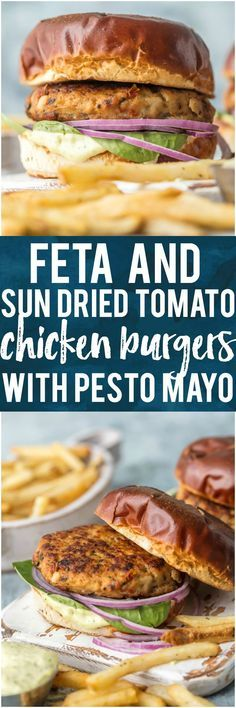 I'm living for these FETA AND SUN DRIED TOMATO CHICKEN BURGERS! Make them by grilling on the stovetop or outdoors once the weather cooperates for the ultimate good for you comfort food. The flavor combo on these sandwiches is out of this world, especially when topped with an easy pesto mayo. YUM! #healthy #grilling #summer #grill #chicken #mediterranean #pesto via @beckygallhardin