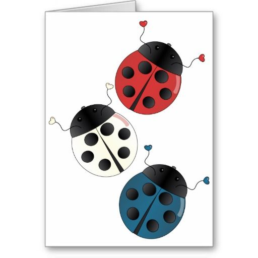 Blue Ladybug | Red White and Blue Ladybugs Greeting Card from Zazzle.com