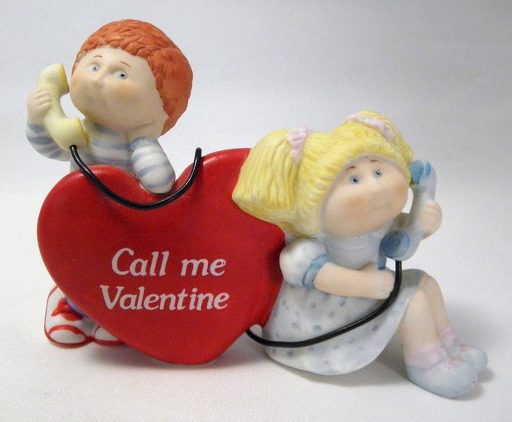 VTG Valentine's Day CABBAGE PATCH Porcelain Figurine Signed XAVIER ROBERTS Phone #CabbagePatchKids #Figurine