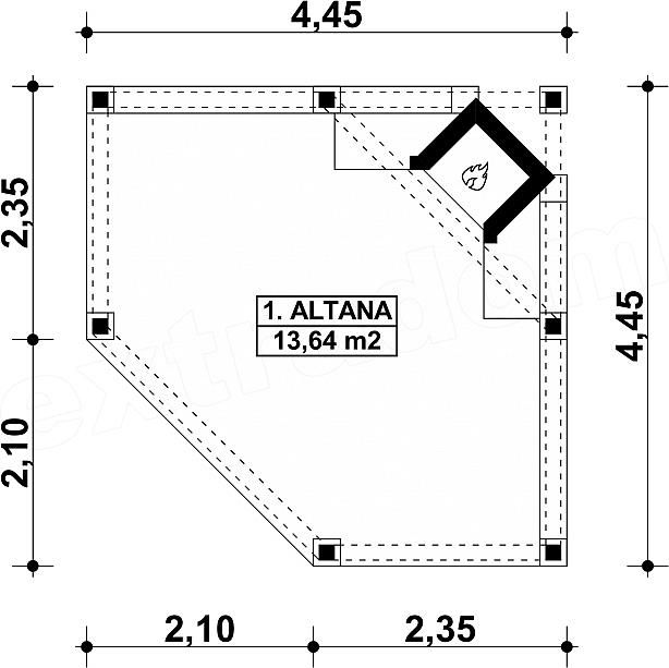 Rzut parteru projektu G157 - Altana ogrodowa