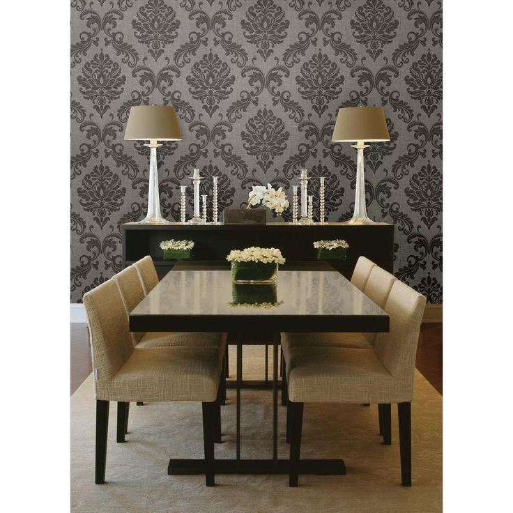 Sebastion Grey Damask Wallpaper. Dining Room ...