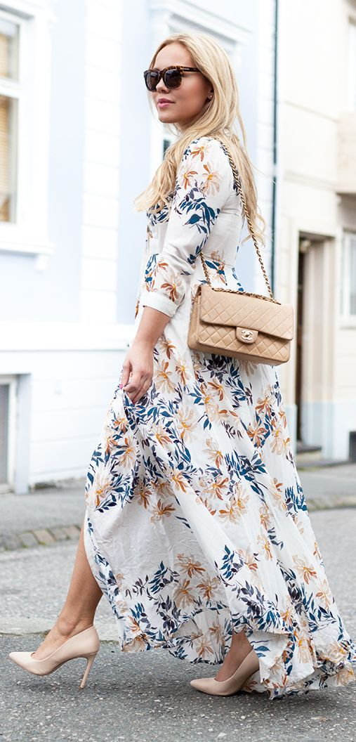 Leaf Print Maxi Shirt Dress by Cath In The City