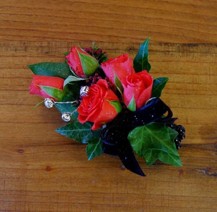 Red rose, Diamante, Black Velvet Ribbon, Black Bracelet - St Kents College Ball 2014  #rubyandblush #corsage #velvet #redrose #highschoolromance
