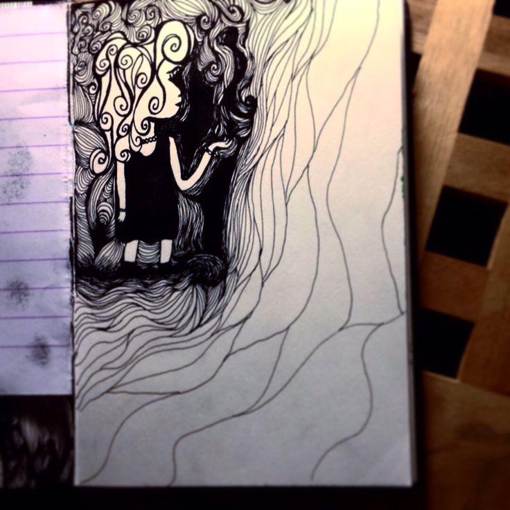 Little girl. Black ink. Rapidograph.