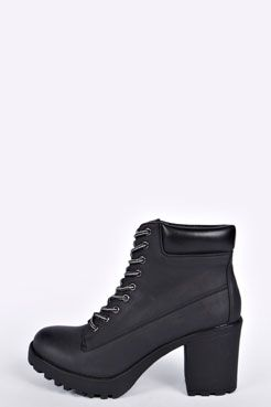 Ivy Cleated Lace Up Worker Boot at boohoo.com