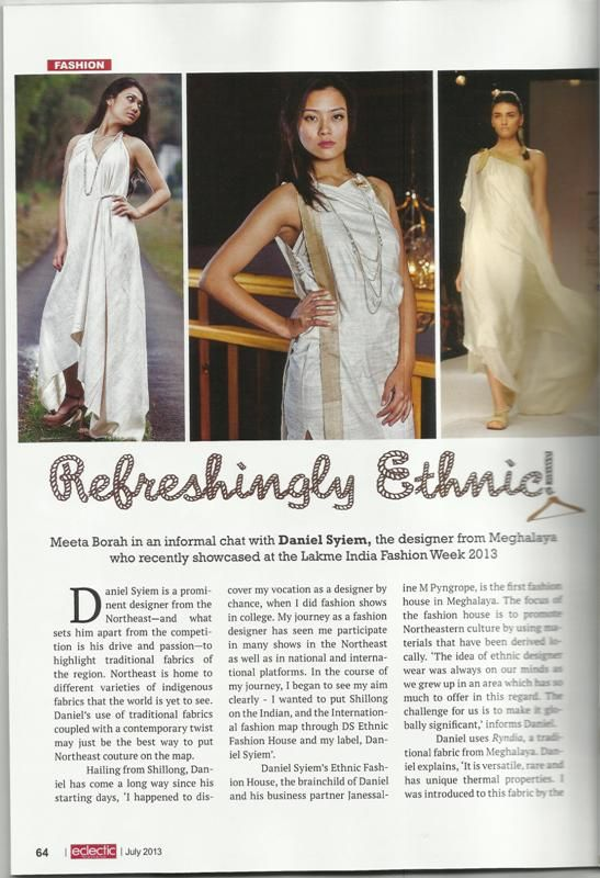 Amazing article on use of organic fabrics by Daniel Syiem's Ethnic fashion House in the Eclectic NorthEast magazine!
