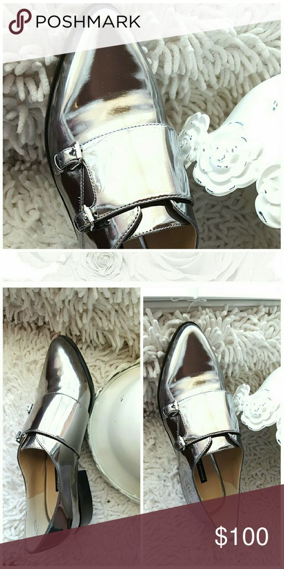?French Connection Loafers? French Connection pewter Girly Monk Strap NiB...too cute!!!???? French Connection Shoes Flats & Loafers