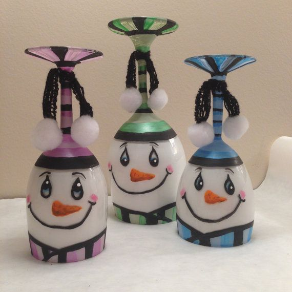 Winter Snowmen Wine Glass Candle Holders Set by E6DesignsbyAshley, $35.00