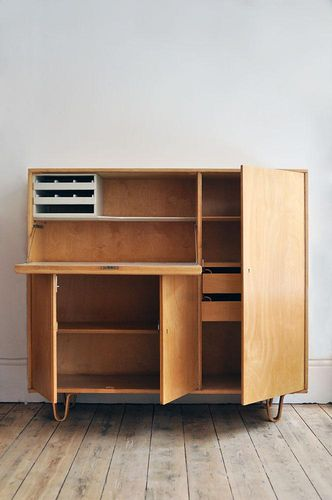 Cees Braakman. What a beautiful desk in a cabinet. So nice to hide all your work in this modern beauty