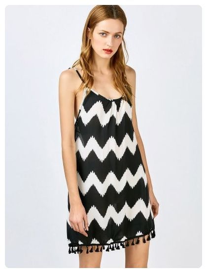 Spaghetti Straps Tassels Spliced Zig Zag Dress (Black)
