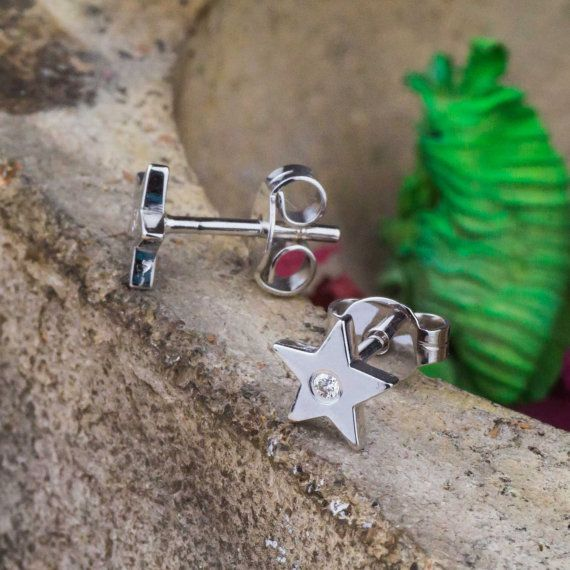 Star Studs in 14K White Gold with Natural White by ZEHAVAJEWELRY