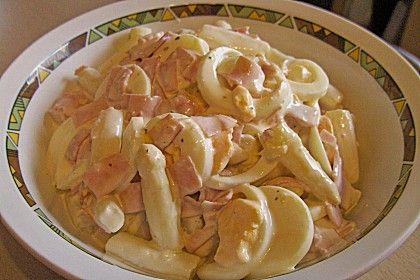 Spargelsalat mit Schinken und Ei, ein gutes Rezept aus der Kategorie Eier & Käse. Bewertungen: 5. Durchschnitt: Ø 3,7.