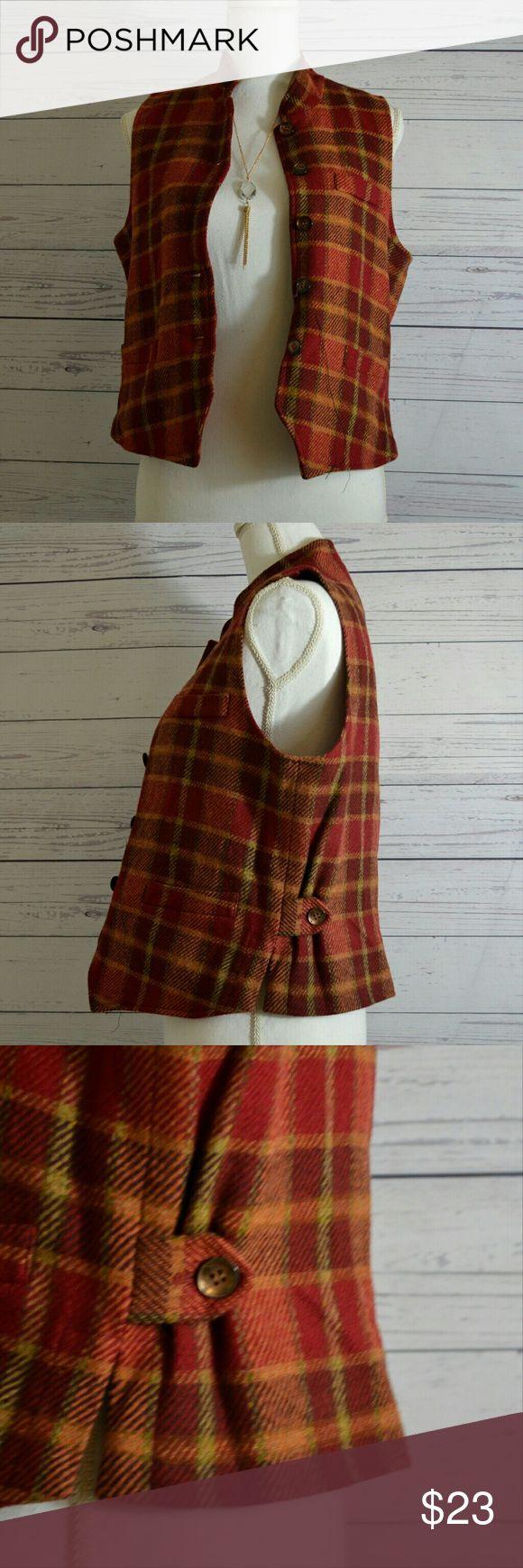 Cambridge dry goods Women's vest size small Pre loved women's plaid orange Burgundy box stripes vintage vest.  Size small Cambridge Dry Goods Jackets & Coats Vests