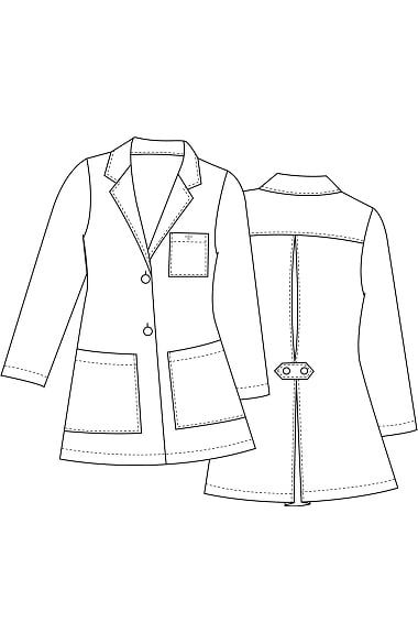 "You'll love the fashionable details on this Med Couture Women's Back Tab Pleat 30"" Lab Coat, including a pleated back with buttoned tab belt. This jacket has a two-button closure, front patch ..."