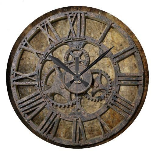 Steampunk round wall clock