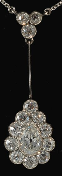 Platinum set deco diamond wearable pendant pear shaped and round old cut diamonds, circa 1910 - John Joseph Pendants
