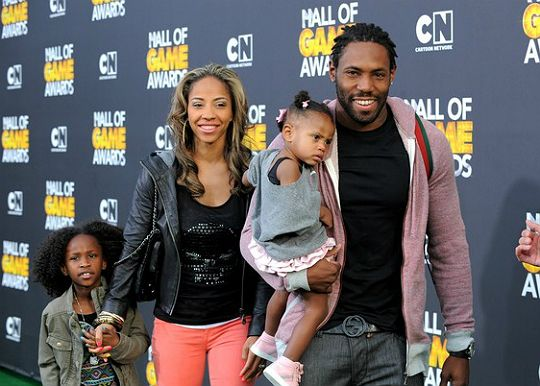 NFL player Antonio Cromartie with his wife Terricka and their children Jordan,7, and Jurzie,11/2.