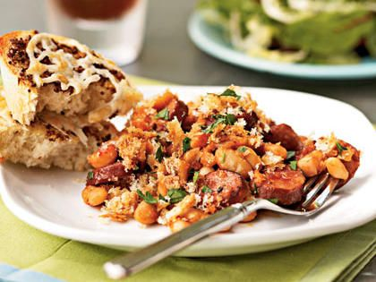 Sausage and Bean Casserole | When feeding a crowd or fixing a no-fuss supper, nothing's more satisfying than a cheesy, crumb-topped casserole. These popular recipes will make you want to scrape the pan clean.