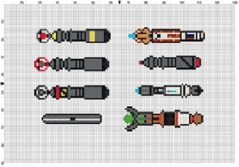 Doctor Who Sonic Screw Driver collection cross stitch pattern. This would look great in my nerd room.