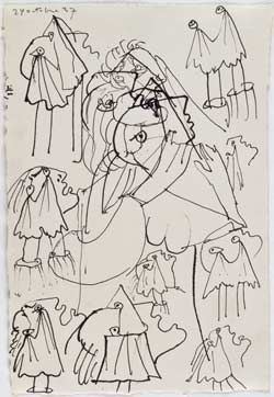 Pablo Picasso - Sheet of studies: The weeping woman 1937. (Dora Maar was the model for weeping woman series.)  Pen and Indian ink on paper.    Dation Pablo Picasso, Musse National Picasso, Paris.