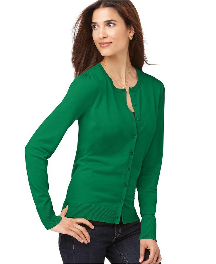 womens green cardigan sweater