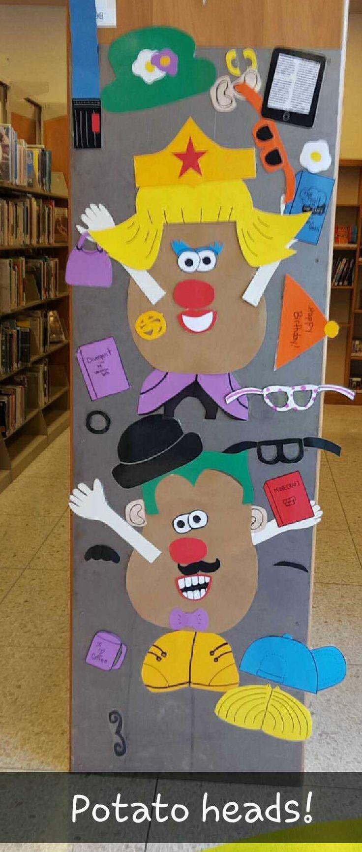 lifesize mr. potato heads on a board end cap