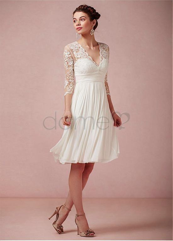 Spitze Chiffon V Ausschnitt Strand 3/4 länge Ärmel knielanges klassisches & zeitloses Brautkleider fürs Standesamt