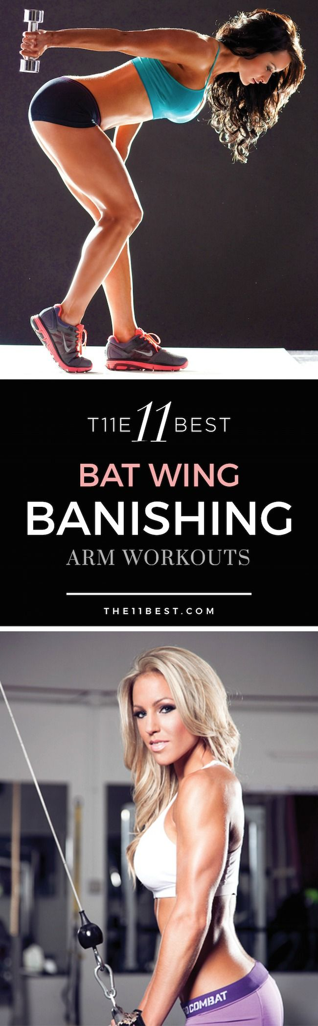 Arms feeling a bit flabby? Do they jiggle around while you're waving hello or goodbye? Those are called Bat Wings and almost all women get them. With some focused arm workouts, we can tone, tighten, and beautify that flab. Here are the 11 Best Bat Wing Banishing Arm Workouts: