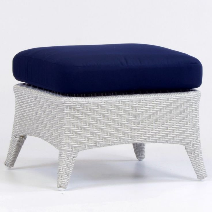 South Sea Outdoor Living Bahia Rustic White Ottoman Trinidad Sun-n-Shade - 78306-RUW-A6396