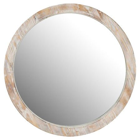 Round wall mirror with a whitewash wood frame.   Product: MirrorConstruction Material: Mirrored glass and wood
