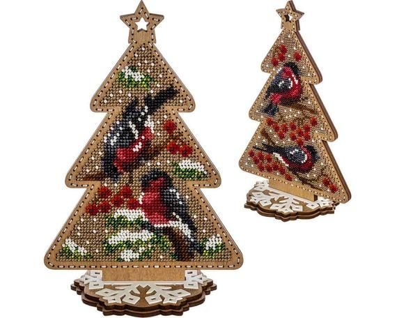 Pin On Diy Christmas Tree Toy Kit Xmas Tree Beading Embroidery Bead Stitching Wood Decor