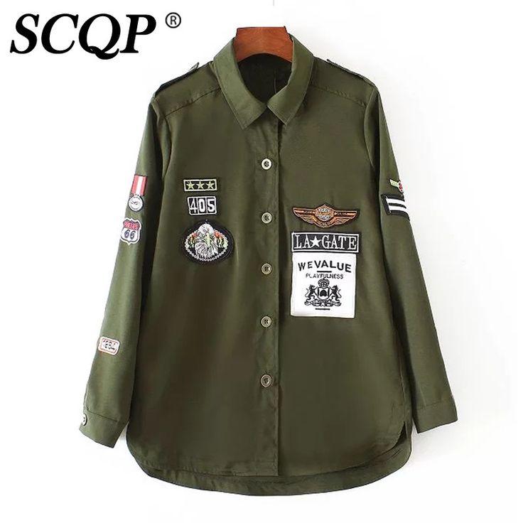 Ucuz Mektup Rozet Kuş Işlemeli Bombacı Ceket Kadın Ordu Yeşil Bayanlar Gevşek Güz Ceketler Kadın Moda Rahat Kadınlar Temel Coats, Satın Kalite temel ceket doğrudan Çin Tedarikçilerden: