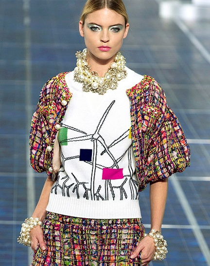 Chanel Sweater with wind turbine graphic