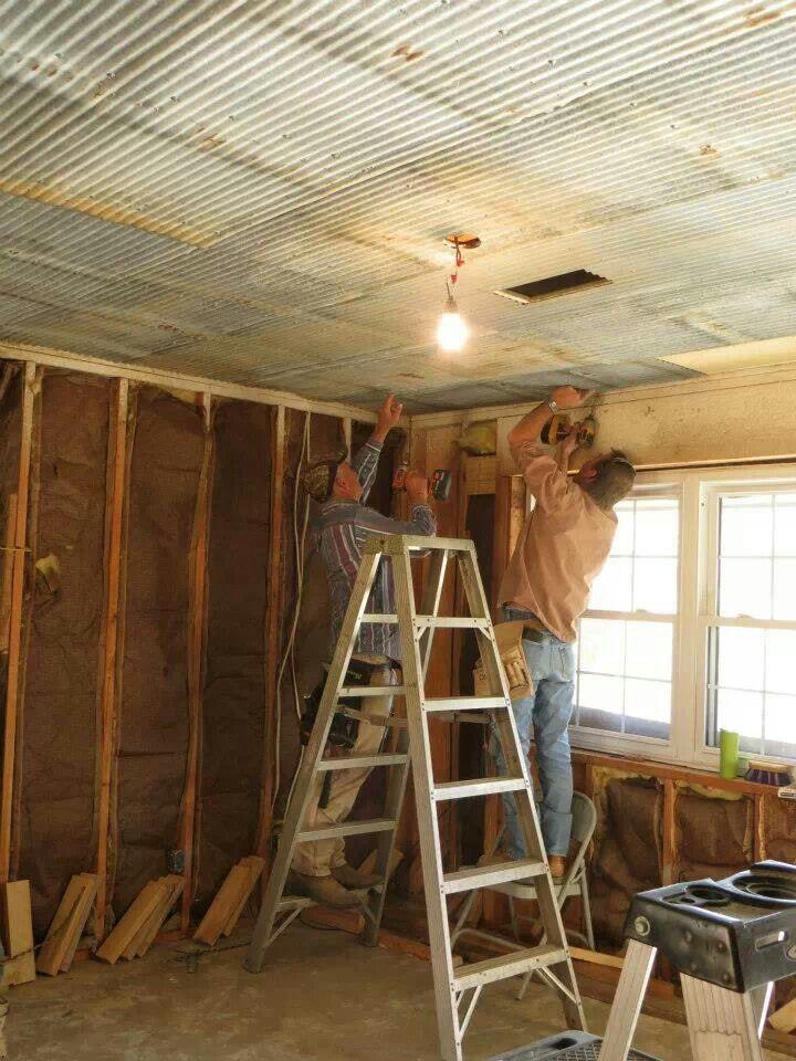 Galvanized Tin Ceiling Rustic House Diy Pinterest