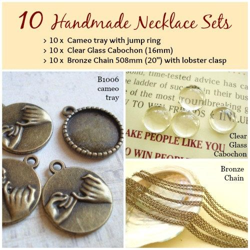 10 Handmade Photo Cabochon Necklace kit sets 18mm by yooounique #handmade #cabochon #necklace #chain #glass #nice #kit #craft #new